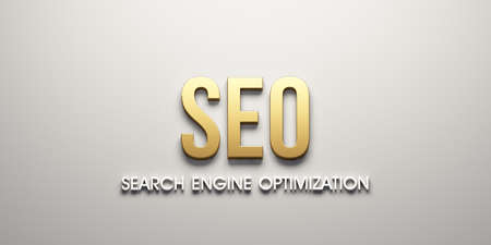 SEO web banner. 3D Render Illustration Stock Photo
