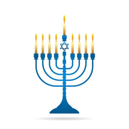 Jewish holiday Hanukkah vintage menorah vector illustration