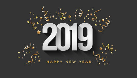 2019 text in 3D white paper black gold background