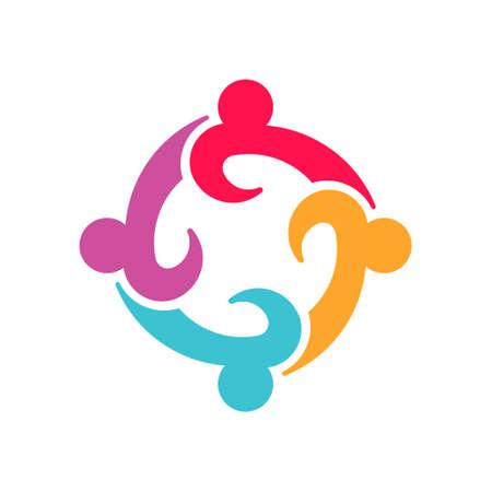 Diseño de logotipo de personas de trabajo en equipo de cuatro empresarios