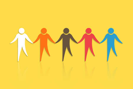 Group of People with holding hands. Concept for Teamwork Illustration