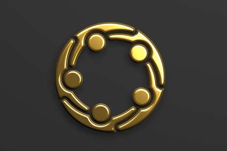 Business People Gold Color, VIP teamwork . 3D Render Illustration Stockfoto