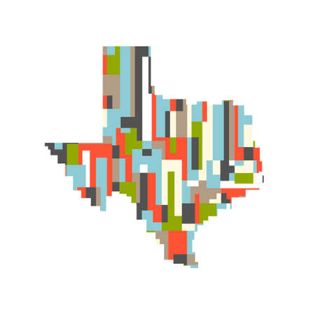 Colorful Texas Abstract Map. Modern style Иллюстрация