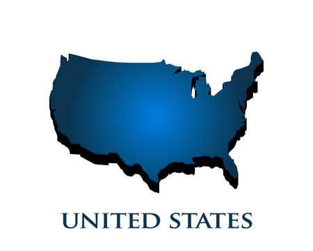 Pays de carte graphique 3D USA en dégradé de couleurs