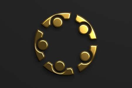Business People strategy teamwork in gold. 3D Render Illustration