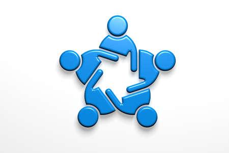 Business People strategy teamwork in blue. 3D Render Illustration