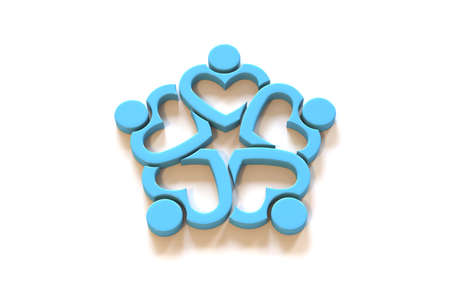 Unusual Heart People logo. Teamwork group of five persons. 3D Render Illustration