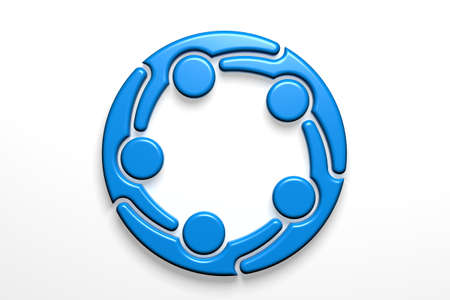 Social Network teamwork logo. 3D Render Illustration