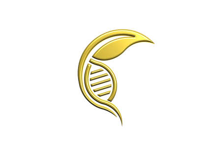 Biology DNA logo. Gold style. 3D Render illustration Stock Photo
