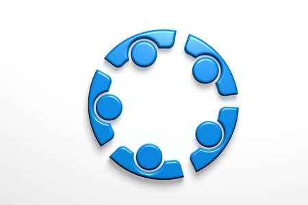 Teamwork Group of Five People Partners . 3D Render Illustration