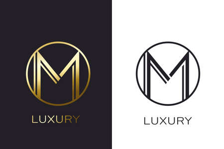 Logo M Monogram gold letter seal, mockup elegant business card. Vector Illustration