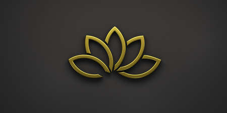 Gold Lotus Plant Logo. 3D Render Illustration 写真素材