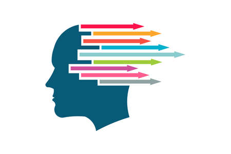Brain with Colored Arrows generating ideas Concept Illustration