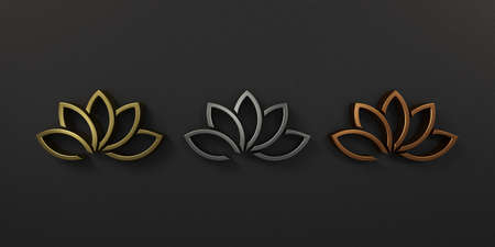 Gold Silver Copper Lotus Plant Logo. 3D Render Illustration