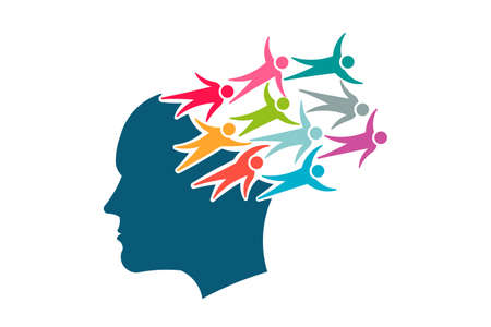 ManBrain with People coming out of mind - Creative Banner Illustration