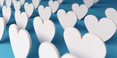 Group of Paper Hearts. 3D Render Illustration Stock Photo