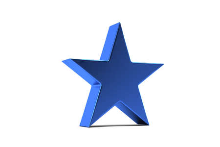 Blue Star Symbol. 3D Render Illustration 版權商用圖片