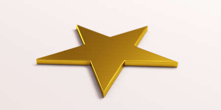 Gold Star Symbol. 3D Render Illustration 版權商用圖片