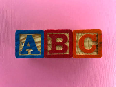 A B C Letters. wood blocks. Photo composition Stock Photo