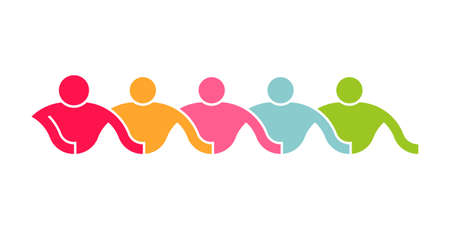 People Line of Caring Group. Logo Illustration