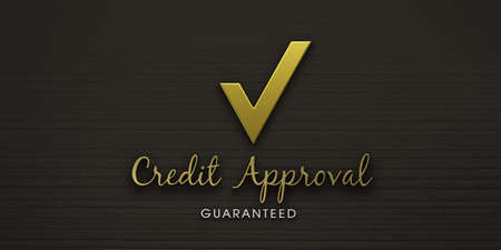 Credit approval gold Check mark. 3D Render illustration Stock Photo