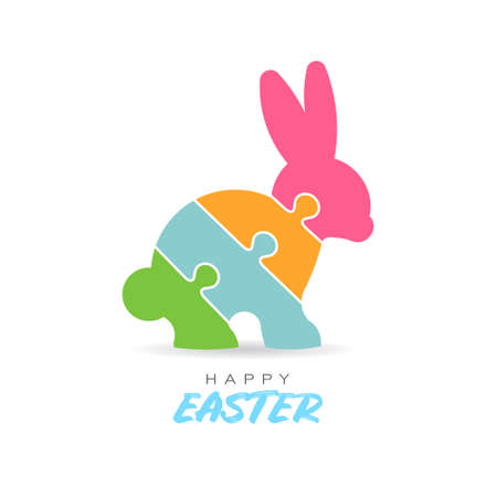 Colorful Happy Easter Puzzle Rabbit
