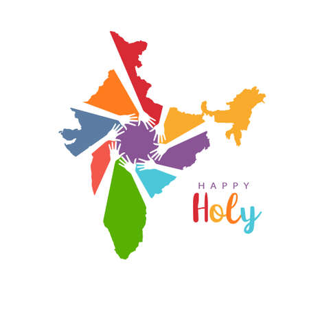 Happy Holi Hands in India Map Logo Illustration