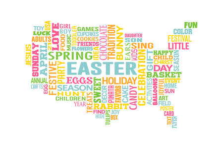 WordMap with Easter theme in America