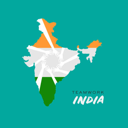 Nation colors india map with hands. Concept of help and community