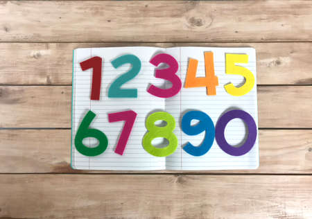School Numbers in wood backgrouond photo Stock Photo