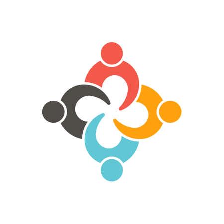 Teamwork-Verbindung vier Personen. Illustration Vektorgrafik