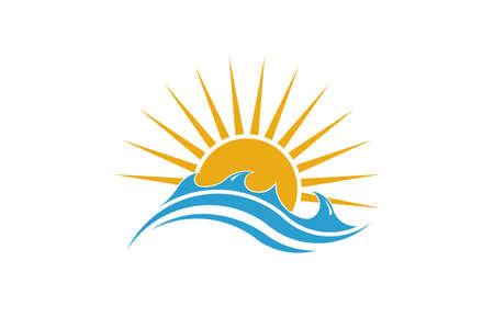 Summer Sun and Sea. Sunny Logo Design