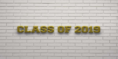 Class of 2019 Gold Sign. 3D Render Illustration Stock Photo