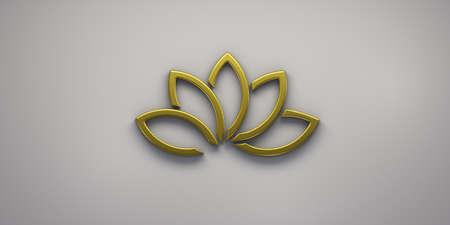 Gold Lotus Plant Logo. 3D Render Illustration Stock Illustration - 124622703