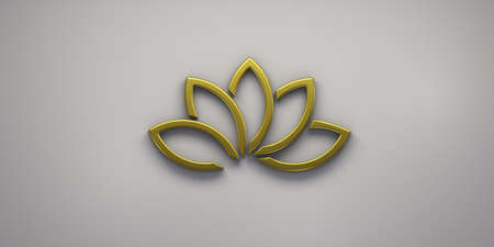 Gold Lotus Plant Logo. 3D Render Illustration Stock Photo