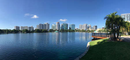 Orlando Lake Eola Skyline Downtown. Photo image