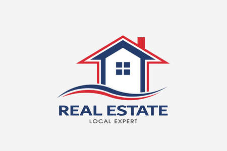 Real Estate house red and blue logo