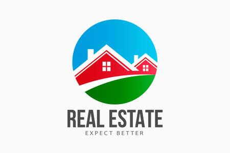 Real Estate houses circle logo