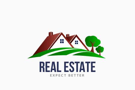 Real Estate Roofs house Landscape logo