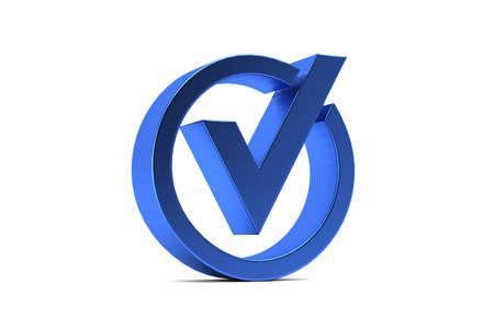 Blue Check mark. 3D Render illustration