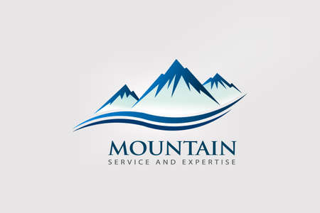 Mountain Peaks with double wave Logo