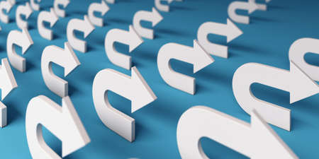 Group of Turning arrow white color. 3D icon rendering illustration