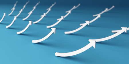 Set of Success arrows up. 3D Render illustration