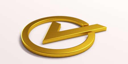 Gold Check mark. 3D Render illustration Stok Fotoğraf