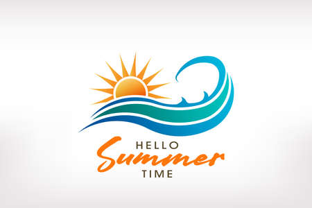 Sunny summer wave. Logo design