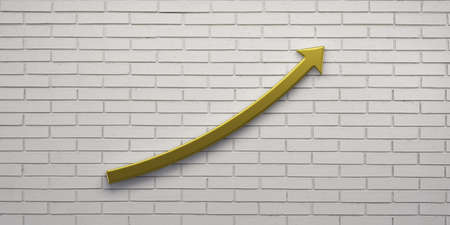 Success arrow up in white brick wall. 3D Render illustration