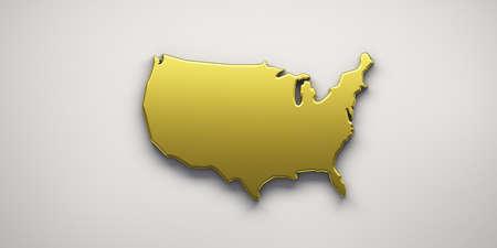 USA United States Golden Map . 3D Render Illustration