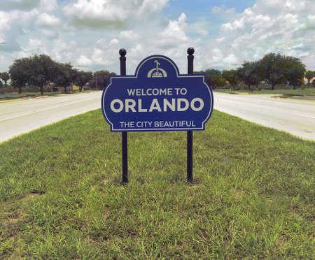 Orlando Florida Welcome Sign Street. Photo image