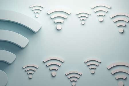 Wifi signals background.in light blue color