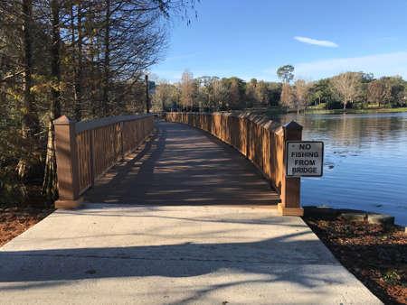 Lake Lily Boardwalk in Maitland, Orlando. Photo image Stok Fotoğraf